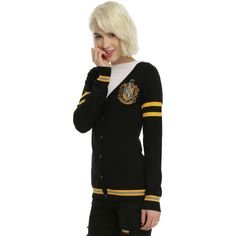 WB Harry Potter Hufflepuff Girls Cardigan (€30) ❤ liked on Polyvore featuring tops, cardigans, harry potter, hufflepuff, shirts, black, stripe top, embroidered top, warner bros. and embroidery shirts