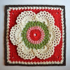 """Cow Parsley Afghan Square 9.15"""" ~ free pattern ᛡ"""