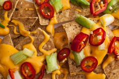 nachos with red peppers and green onions!
