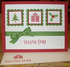 Christmas Thank You - Jolly Bingo Bits  www.crazystampinglady.blogspot.com  Maureen Rauchfuss