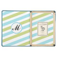 Striped Blue Lime Custom Monogram ipad case