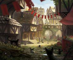 Illustrations done for Fantasy Flight Games' Eldritch Horror The Dreamlands Expansion. Fantasy Village, Fantasy Town, High Fantasy, Medieval Fantasy, Fantasy World, Fantasy Art Landscapes, Fantasy Landscape, Fantasy Concept Art, Fantasy Artwork