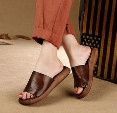 Femmes à la main Simple chaussons, sandales semelle épaisses, rétro derbies en cuir véritable