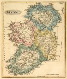 Historical Map Of Ireland Old Map Restored Fine Reproduction
