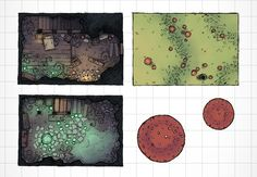 The Druid's Burrow, a battle map for D&D / Dungeons & Dragons, Pathfinder, Warhammer and other table top RPGs. Tags: cave, underground, underdark, wilderness, camp, spooky, temple, set piece, building, plains, mountain, marsh, hobbit home, house: