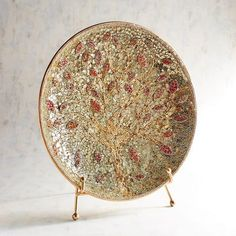 Pier 1 Imports Golden Tree Mosaic Platter with Stand Glass Ceramic, Glass Vase, Beige Room, Golden Tree, Vases Decor, Decorative Accessories, Decorative Bowls, Mosaic, Room Decor
