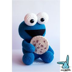 Cookie Monster. PDF file amigurumi crochet pattern. Inspired
