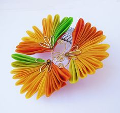 Autumn Ginkgo Leaves Tsumami Kanzashi Hair Comb