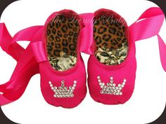 Hot Pink Princess Ballet Slippers from The Trendy Baby