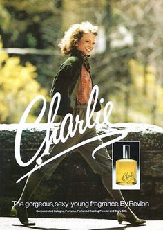 Shelley Hack in an ad for Charlie perfume by Revlon, Perfume Diesel, Hermes Perfume, Perfume Ad, Best Perfume, Vintage Advertisements, Vintage Ads, Vintage Style, Charlie Perfume, Icons