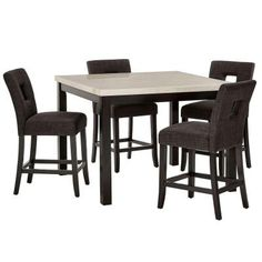 HomeSullivan Sorrento 5-Piece Counter Height Dining Set in Charcoal-403270-365P24DG - The Home Depot