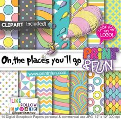 Oh the places you'll go, Dr. Seuss, Digital Paper Patterns - Digital Papers and more!