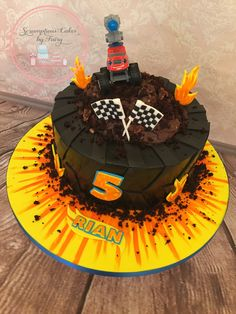 Blaze monster trucks cake Blaze Birthday Cake, 4th Birthday, Iced Cookies, Cake Cookies, Bolo Blaze, Blaze And The Monster Machines Cake, Blaze Cakes, Motorcycle Cake, Bithday Cake