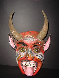 114 Devil Mexican Wooden Mask Beautiful Wall Decor Handcrafted in Colorin Wood | eBay