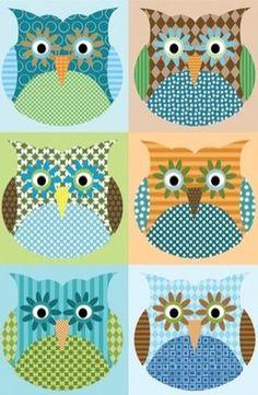 Patchwork owl background
