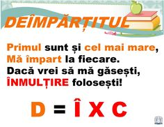 Planșe terminologie matematică -Deîmpărțitul Algebra, Little Einsteins, School Staff, Kids Education, Kids And Parenting, Geography, Coloring Pages, Teacher, Science