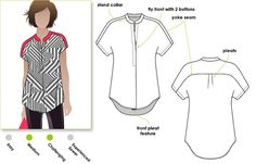 "Sewing Top The Maggie Shirt by Style Arc. This would be adorable in black and white gingham with black shoulders and collar. - Sophisticate shirt with ""Magyar"" sleeve Pdf Sewing Patterns, Clothing Patterns, Shirt Patterns For Women, Sewing Blouses, Dressmaking, Sewing Hacks, Diy Clothes, Size Chart, Digital Pattern"