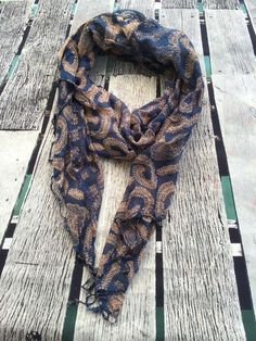 Fancy this gorgeous fern print? Beautiful light weight loose weave summer scarf in royal blue and cream