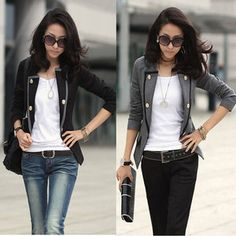 Pair a blazer with jeans for a more casual look.