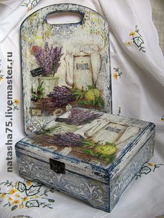 lavender and decoupage Decoupage Box, Decoupage Vintage, Painted Boxes, Wooden Boxes, Altered Cigar Boxes, Arts And Crafts, Diy Crafts, Handmade Decorations, Wood Colors