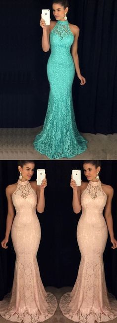 Mermaid Style High Neck Open Back Sweep Train Turquoise Lace Prom Dress