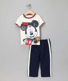Mad pimp!!!  Take a look at this Disney White & Navy Mickey Tee & Track Pants - Infant by Disney on #zulily today!