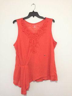 Lane Bryant Floral Plus Size Coral Tank Top Shirt Blouse Top 1X, 2X, 4X New  #LaneBryant #Blouse #Casual