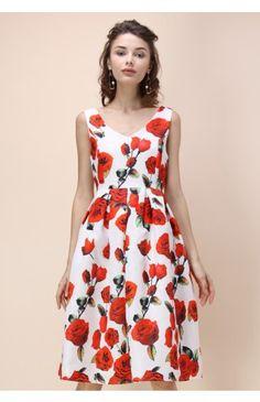 Romántico Midi Vestido con Estampado de Rosas Texturizado - Dress - Retro, Indie and Unique Fashion