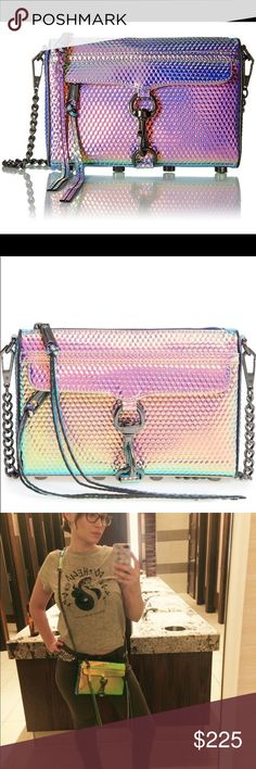 🧜🏼♀️💎RARE mini mac! Beautiful 🌈 color shifting holographic Rebecca Minkoff mini mac crossbody bag. New without tags. Only worn and used maybe 2 times. Kept in my closet with paper to help keep bags original shape. Will not accept trades or low ball offers! Rebecca Minkoff Bags Crossbody Bags