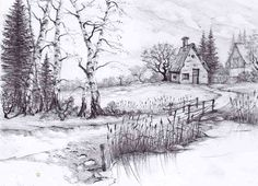 A very detailed landscape drawing of a cottage created just by using a selection of pencils.  pencil drawings of nature - Google Search