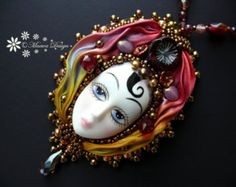 Bead embroidered Pendant necklace Shibori silk ribbon faceted Beadwork Vintage Porcelain Doll Face seed beaded jewelry Ooak