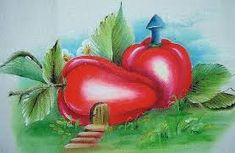 Resultado de imagem para pintura em tecido casinhas de frutas