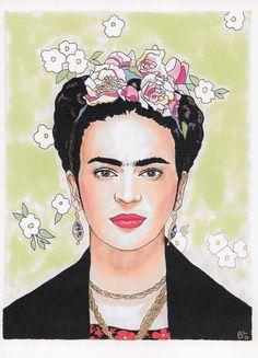 Frida Kahlo ilustración impresión por BuffsterMakesStuff en Etsy