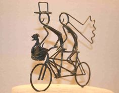 Bride and Groom Tandem With Dog in Basket