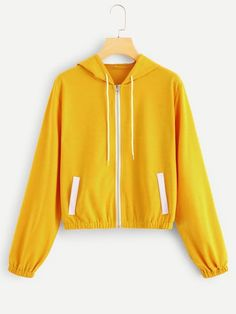 Shop Zip Up Drawstring Hoodie at ROMWE, discover more fashion styles online. Sweatshirt Outfit, Crew Neck Sweatshirt, Cute Sweatshirts, Hoodies, Cute Tops, Romwe, Hooded Jacket, Zip Ups, Winter Fashion