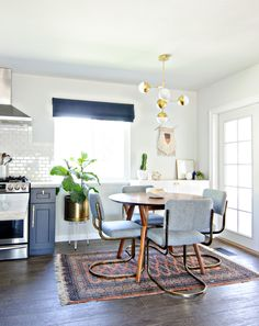 navy gold & white dining room