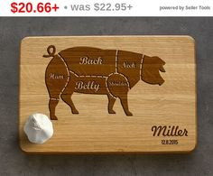 Engraved Pork Cuts Cutting Board Personalized Custom