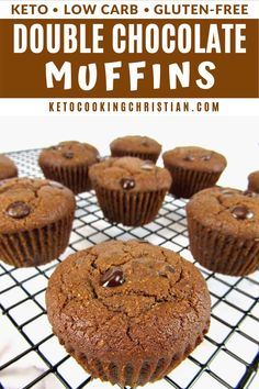 Keto Double Chocolate Muffins Chocolate for breakfast? You bet! These scrumptious Keto Double Chocolate Muffins are tender and moist and all things chocolate! #ketomuffins #ketochocolatemuffins #glutenfreemuffins Best Low Carb Recipes, Best Gluten Free Recipes, Low Carb Dinner Recipes, Diet Recipes, Sugar Free Desserts, Low Carb Desserts, Healthy Desserts, Healthy Low Carb Snacks, Keto Snacks