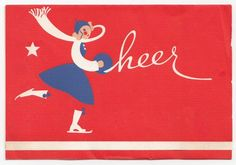 Vintage Greeting Card Christmas 1940s Ice Skater Skating Cheer As-Is a477