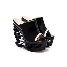 ARMOIRE Brand New Unique Novelty Women Platform Sandals Slides Black White Purple  Ladies Sexy Shoes Cut off High Heels AXY76-1
