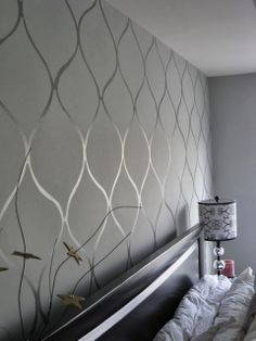 Same color, different kinds of paint on the wall with a stencil... high gloss and matte paints