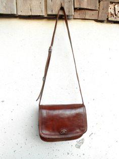 3d0c1ad180b43 Vintage Leather Bag Leather messenger Bag Cognac Brown The Bridge No.037723