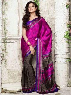 Magenta And Brown Silk Saree With Print Work www.saree.com