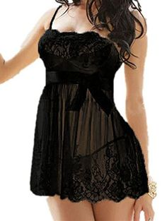 Women Plus Size Lingerie Sexy See-through Lace Babydoll With Satin Bow and G-string Set (4XL=US Size XXXL, Black) -- Check out the image by visiting the link. Amazon Affiliate Program's Ads.