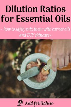 When using essential oils regularly, it's crucial to know that you have to dilute them in carrier oils to avoid allergies or potential reactions on the skin. Essential oils are potent little potions and should be used with care. Click to discover all you need to know about the essential to carrier oil ratios in DIY skincare with tips and tricks! #essentialoils #essentialoildilution #diyskincare #naturalskincare #nontoxicskincare