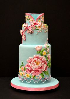 Lovely blue hand painted cake