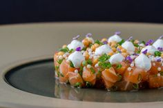 Awarded as one of Chicago Magazine's 50 Best Dishes, this salmon tartare by Chef Dave Park is a firm favorite on Korean fine-dining hotspot Jeong's menu. Healthy Dinner Recipes, Gourmet Recipes, Gourmet Food Plating, Salmon Tartare, Best Dishes, Chicago Restaurants, Mediterranean Recipes, Food Presentation, Fine Dining