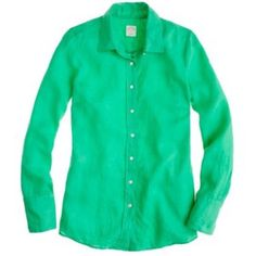 J.Crew 100% linen button down Kelly green linen button down. In fantastic condition, barely worn. Great to pair under a cardigan or to wear on its own on those cool summer evenings!!! J. Crew Tops Button Down Shirts
