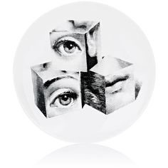 "Fornasetti ""3 Cubes"" Plate (8,870 PHP) ❤ liked on Polyvore featuring home, home decor, multi, black and white plates, porcelain plates, black and white home decor, fornasetti and fornasetti plates"