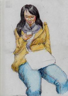 黒髪のお姉さん It is a sketch of the woman View smartphone with a laugh.  I drew on the train going to work.
